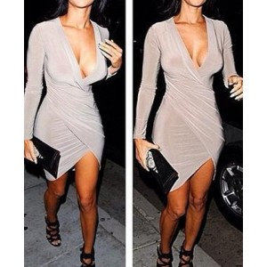 Sexy Asymmetrical Hem Long Sleeve Plunging Neck Solid Color Dress For Women Gray