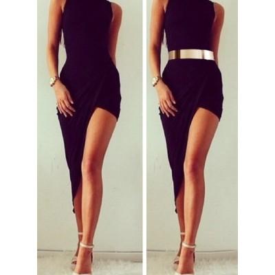 Sexy Asymmetrical Hem Sleeveless Round Collar Black Dress For Women black