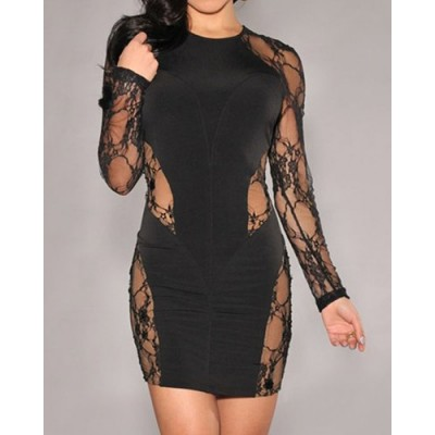 Sexy Backless Hollow Out Design Long Sleeve Round Collar Black Dress For Women black
