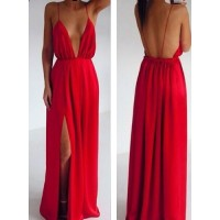 Sexy Backless Sleeveless Plunging Neck Red Color Slit Side Design Spaghetti Strap Dress For Women Red