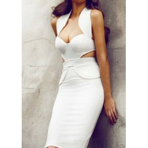 Sexy Halter Neck Sleeveless Solid Color Spliced Hollow Out Bodycon Dress For Women white