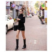 Sexy High Neck Shoulder Hollow Slim Fit Long Sleeve Black Color Stretch Cotton Dress For Women