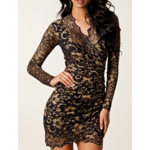 Sexy Lace Jacquard Plunging Neck Long Sleeve Bodycon Slimming Sheath Dress For Women golden black