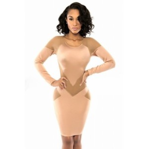 Sexy Nude Splicing Bodycon Mini Dress