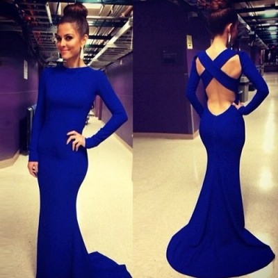 Sexy O Neck Long Sleeves Crossed Backless Blue Trailing Mermaid Bandage Dress For Women blue