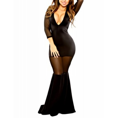 Sexy Plunging Neck 3/4 Sleeve See-Through Spliced Bodycon Dress For Women Black