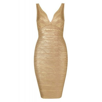 Sexy Plunging Neck Backless Sleeveless Bodycon Dress For Women golden