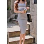 Sexy Plunging Neck Sleeveless Backless Color Block Bodycon Dress For Women light gray black