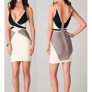 Sexy Plunging Neck Sleevelss Color Block Bodycon Dress For Women Gray Black White