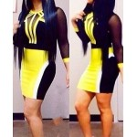 Sexy Round Neck 3/4 Sleeve Color Block Bodycon See-Through Dress For Women yellow black