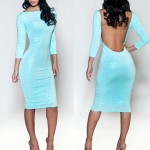 Sexy Round Neck 3/4 Sleeve Solid Color Bodycon Backless Dress For Women Azure