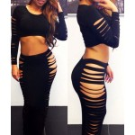 Sexy Round Neck Long Sleeve Crop Top + Bodycon Solid Color Hollow Out Skirt Twinset For Women black
