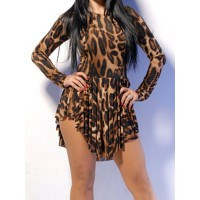 Sexy Round Neck Long Sleeve Leopard Print Chiffon Dress For Women