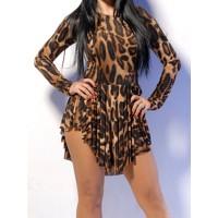 Sexy Round Neck Long Sleeve Leopard Print Chiffon Dress For Women