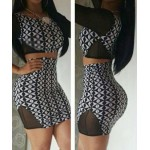 Sexy Scoop Neck 3/4 Sleeve Spliced Printed Crop Top + Bodycon Skirt Twinset For Women black white