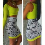 Sexy Scoop Neck One-Sleeve Low Cut Crop Top + Printed Bodycon Skirt Twinset For Women yellow white black