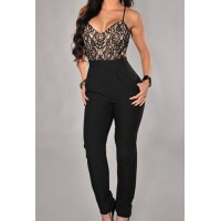 Sexy Spaghetti Strap Floral Pattern Backless Jumpsuits For Women black
