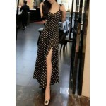Sexy Spaghetti Strap Low Cut Sleeveless Polka Dot Backless Dress For Women black