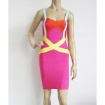Sexy Spaghetti Strap Sleeveless Spliced Zippered Bodycon Bandage Dress For Women Plum