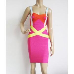 Sexy Spaghetti Strap Sleeveless Spliced Zippered Bodycon Bandage Dress For Women Plum
