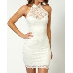 Sexy Style Lace Splicing Packet Buttock Slimming Dress For Women white black blue