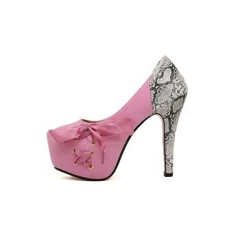 Sexy Style Women's Pumps With Lace-Up and Snake Print Design pink blue black