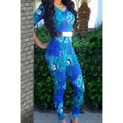 Sexy V-Neck 1/2 Sleeve Bodycon Printed Jumpsuit For Women blue