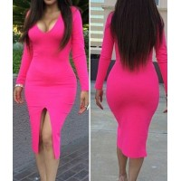 Sexy V Neck Long Sleeves Front Split Rose Red Sheath Knee Length Dress For Women
