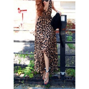 Sexy V-Neck Sleeveless Leopard Print Elastic Waist Irregular Hem Dress For Women leopard