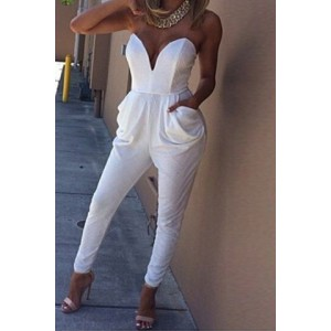 Sexy V-Neck Sleeveless Strapless Backless Pockets Design Solid Color Jumpsuit For Women white black