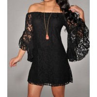 Sexy Women's Boat Neck Flared Sleeve Lace Dress black white khaki