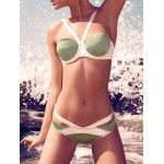 Sexy Women's Color Block Halter Bikini Set Green White