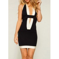 Sexy Women's Halter Color Block Slimming Dress black