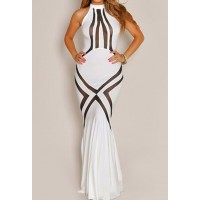Sexy Women's Halter Mesh Splicing Floor-Length Dress
