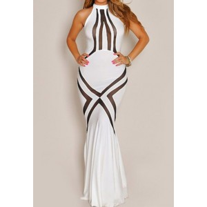 Sexy Women's Halter Mesh Splicing Floor-Length Dress
