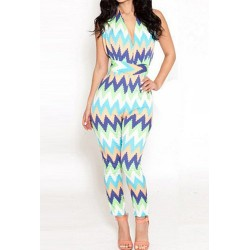 Sexy Women's Halter Multi-Colored Wavy Jumpsuit blue white