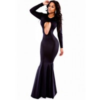 Sexy Women's Jewel Neck Long Sleeve Hollow Out Dress black white