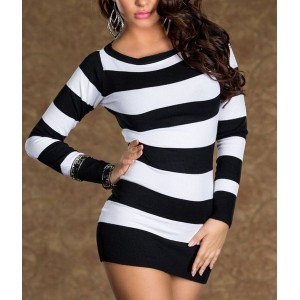 Sexy Women's Jewel Neck Long Sleeve Striped Dress black