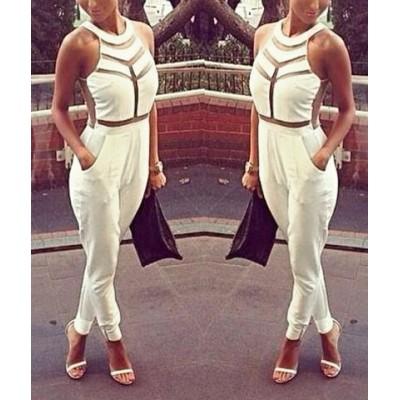 Sexy Women's Jewel Neck Mesh Splicing Jumpsuit white black