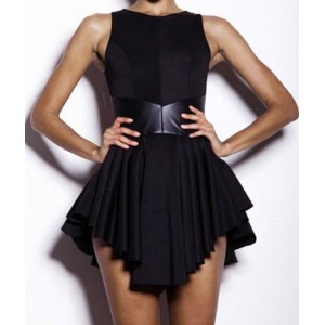 Sexy Women's Jewel Neck Sleeveless Asymmetric Dress Black