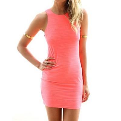Sexy Women's Jewel Neck Sleeveless Dress pink