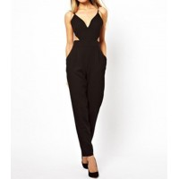 Sexy Women's Plunging Neckline Backless Black Jumpsuit black