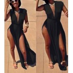 Sexy Women's Plunging Neckline Sleeveless Black Side Slit Dress black