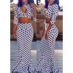 Sexy Women's Round Neck Polka Dot Crop Top and Skirt Suit white