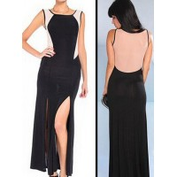 Sexy Women's Scoop Neck Color Block Side Slit Dress black