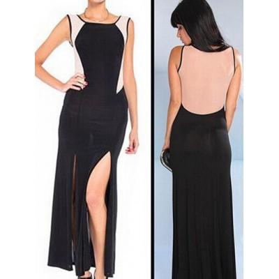Sexy Women's Scoop Neck Color Block Side Slit Dress black