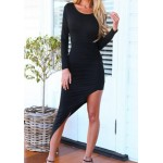 Sexy Women's Scoop Neck Long Sleeve Backless Asymmetrical Mini Bodycon Dress gray black