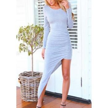 Sexy Women's Scoop Neck Long Sleeve Backless Asymmetrical Mini Bodycon Dress gray black