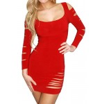 Sexy Women's Scoop Neck Long Sleeve Hollow Out Dress Black Red