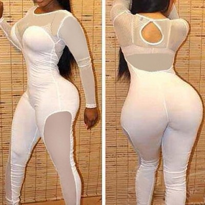 Sexy Women's Scoop Neck Mesh Splicing Hollow Out Jumpsuit white